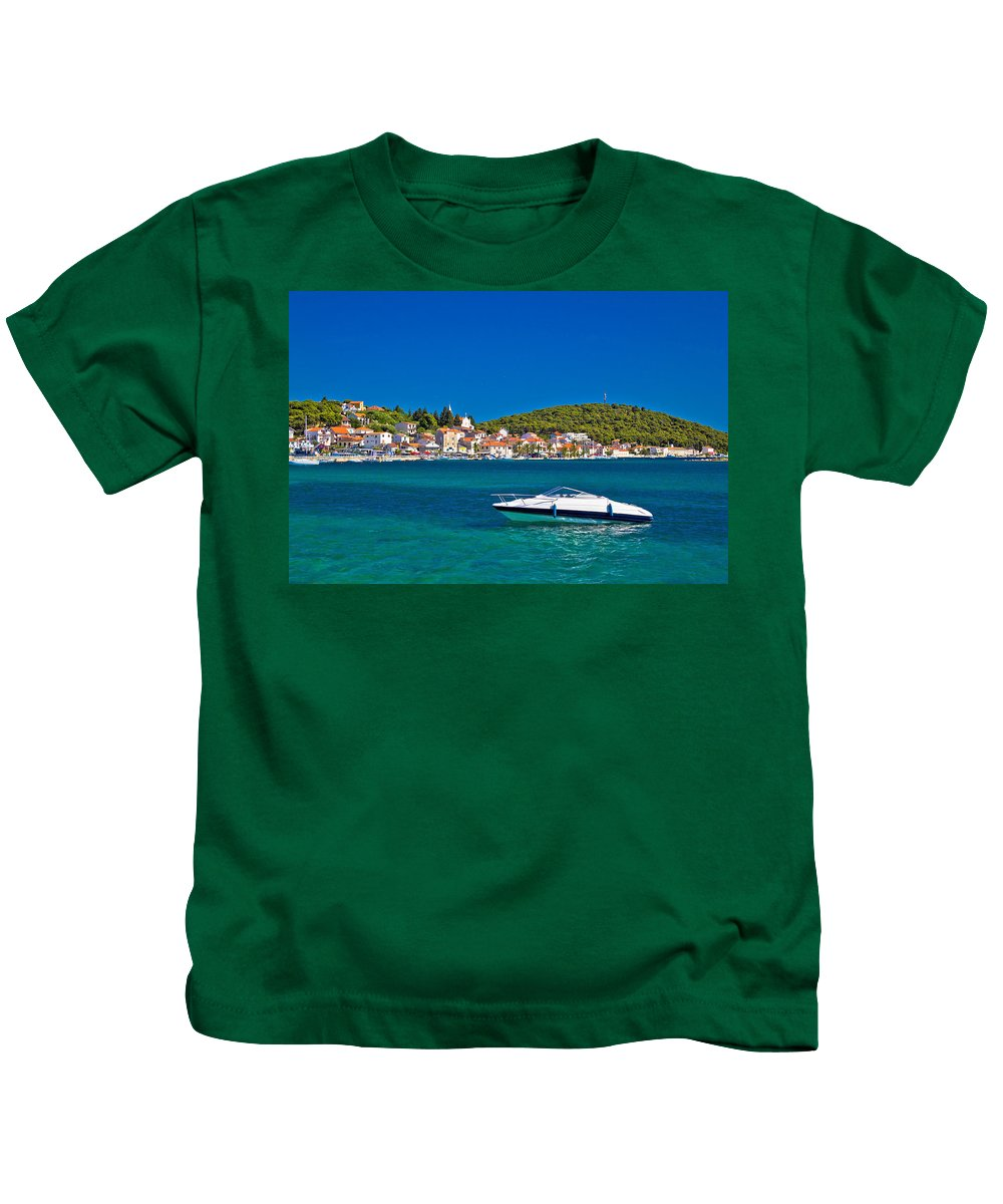 Croatia Kids T-Shirt featuring the photograph Turquoise Waterfront Of Rogoznica Tourist Destination by Brch Photography