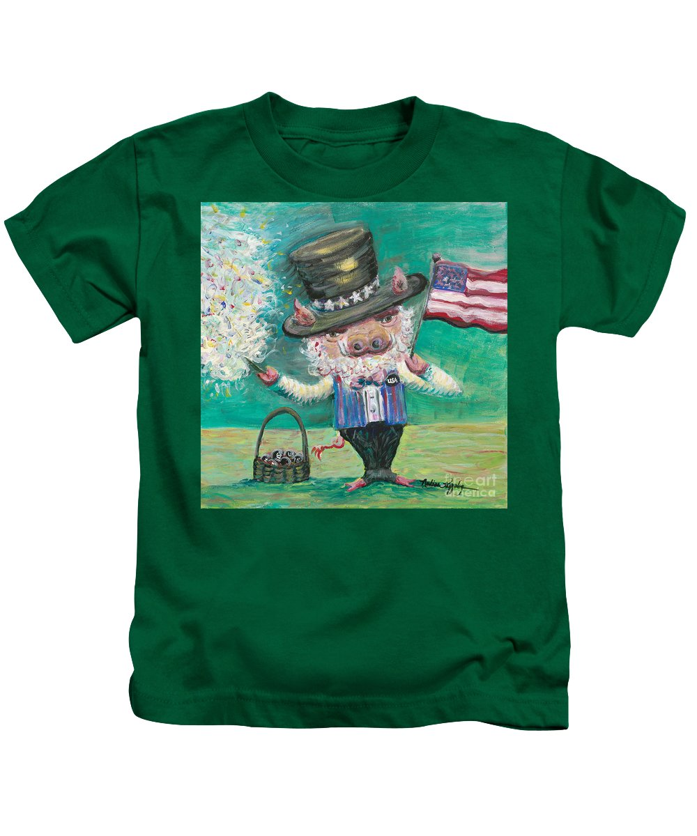 Fourth Of July Kids T-Shirt featuring the painting Uncle Spam by Nadine Rippelmeyer