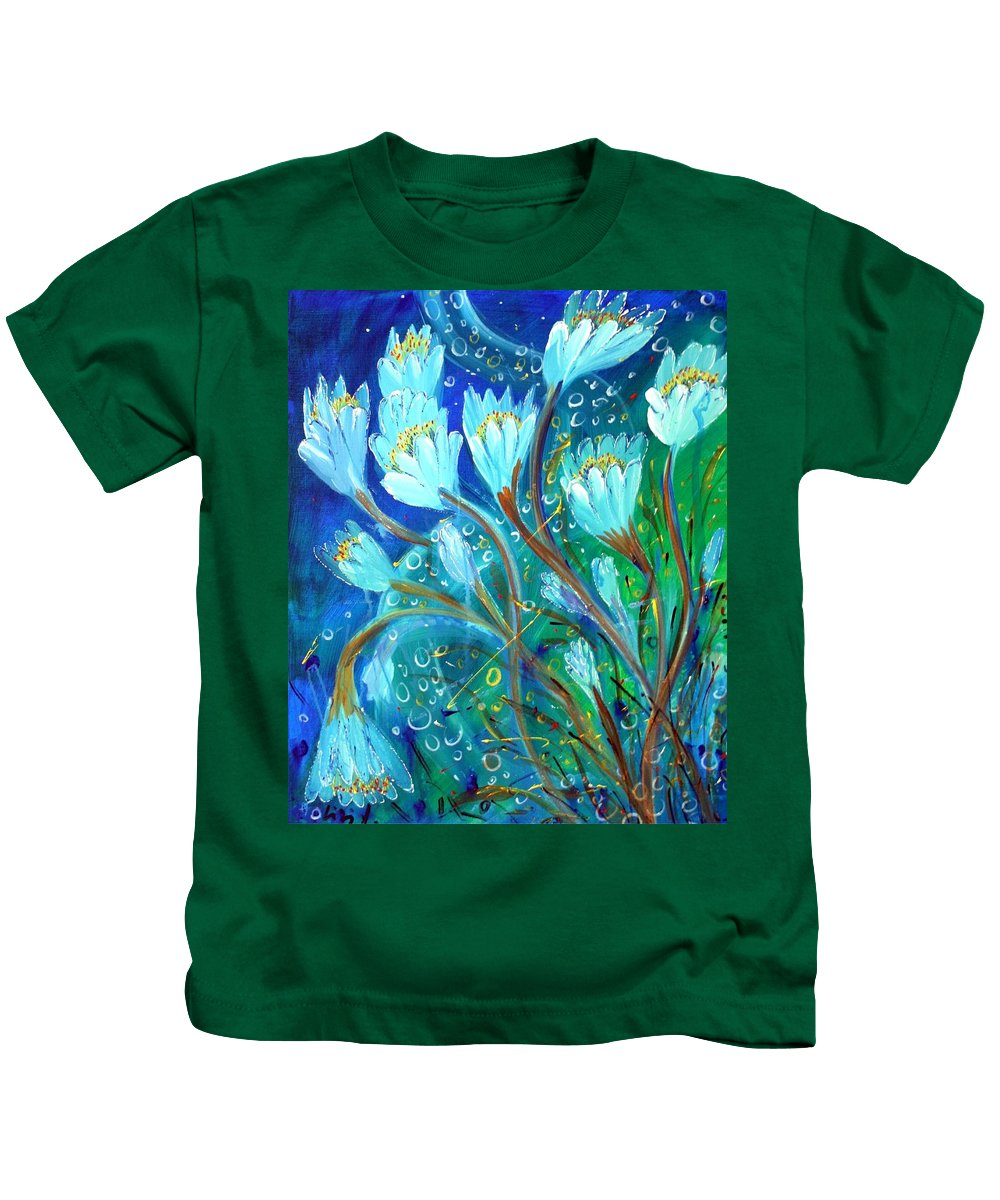 Flowers Kids T-Shirt featuring the painting Water Flowers by Luiza Vizoli
