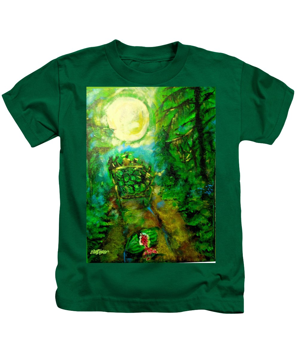 Watermelon Wagon Moon Kids T-Shirt featuring the painting Watermelon Wagon Moon by Seth Weaver