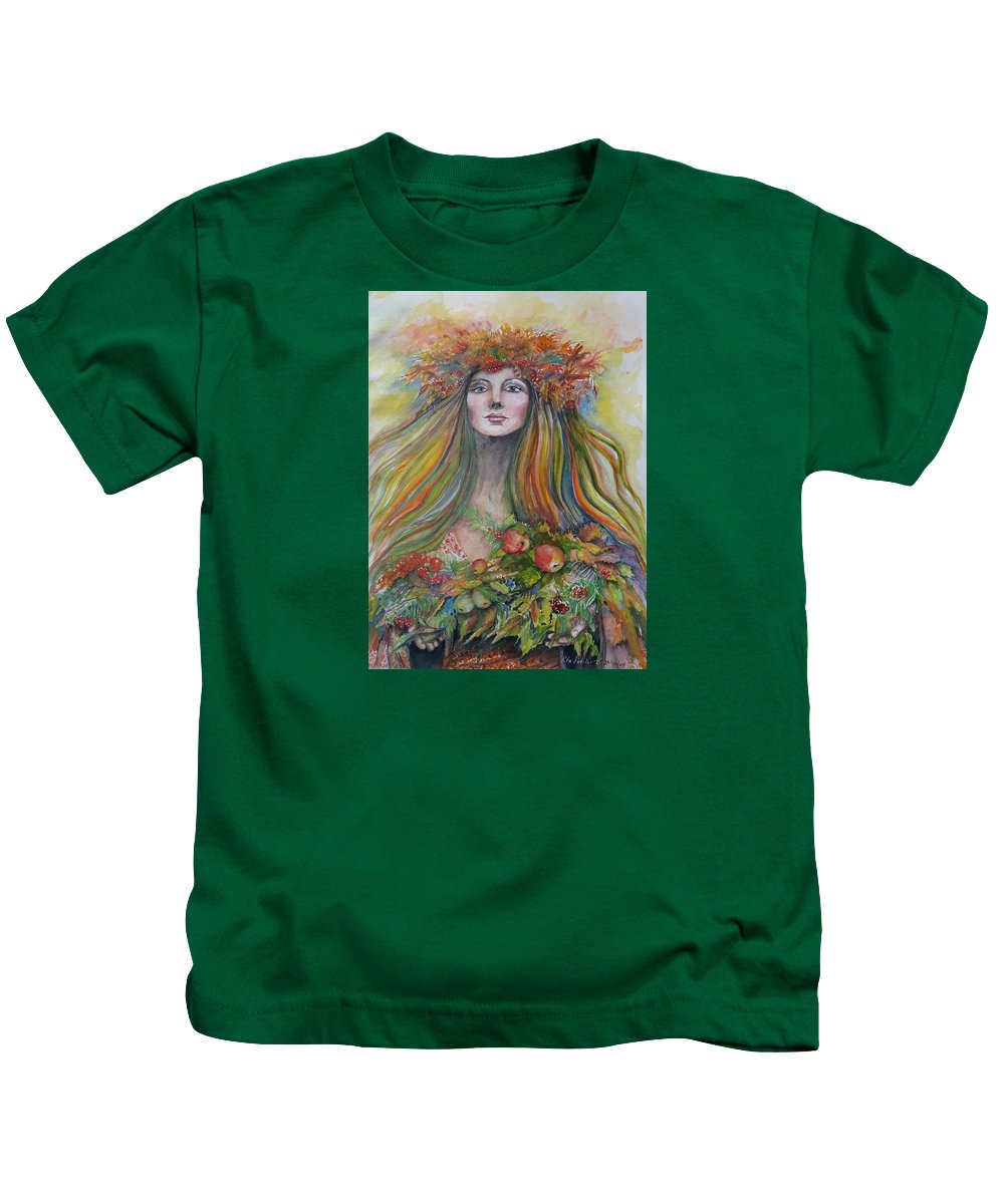 Autumn Kids T-Shirt featuring the painting Welcome To Autumn by Rita Fetisov