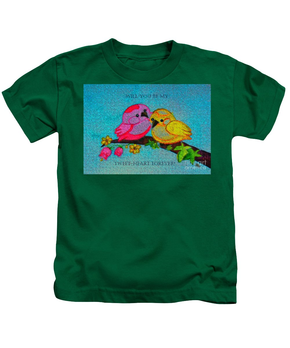 Birds Kids T-Shirt featuring the painting Will You Be My Tweet Heart Forever by Hazel Holland