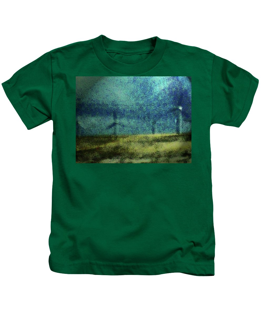 Abstract Kids T-Shirt featuring the photograph Windmills In Moonlight by Lenore Senior