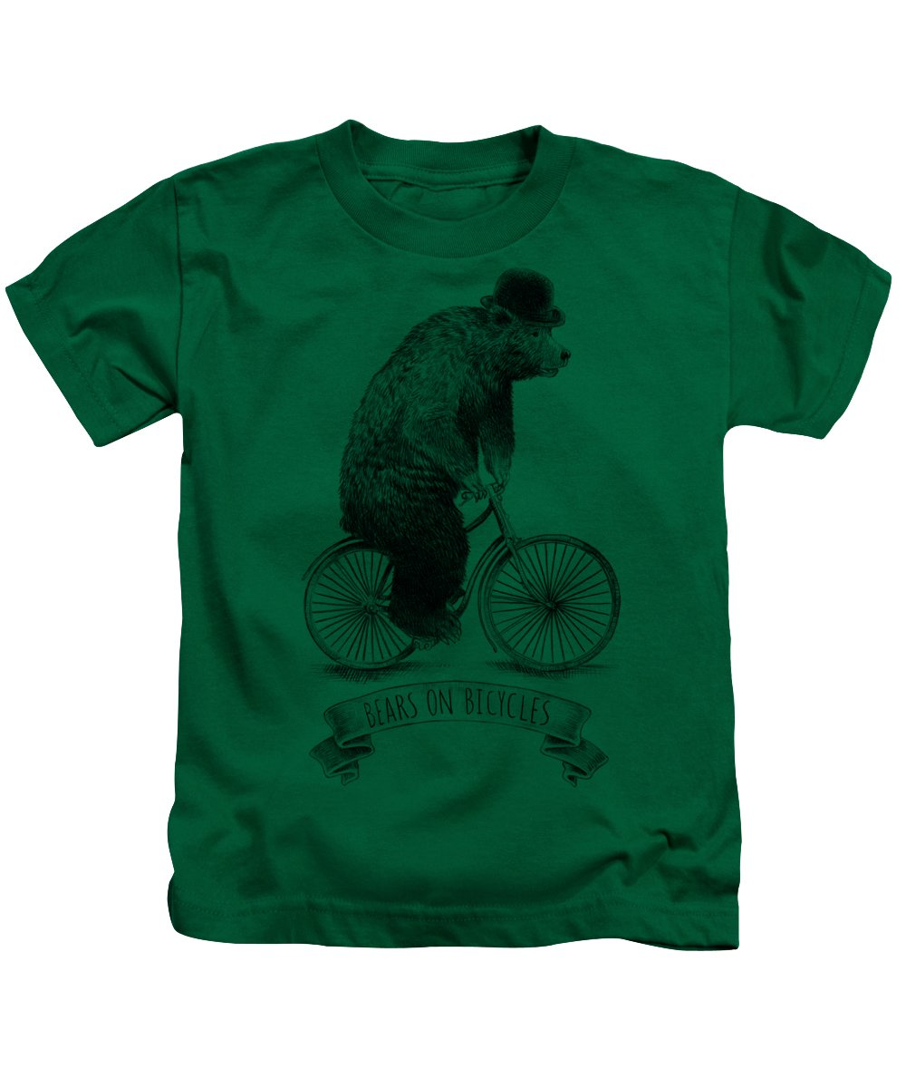 Bear Kids T-Shirt featuring the drawing Bears on Bicycles - Lime by Eric Fan
