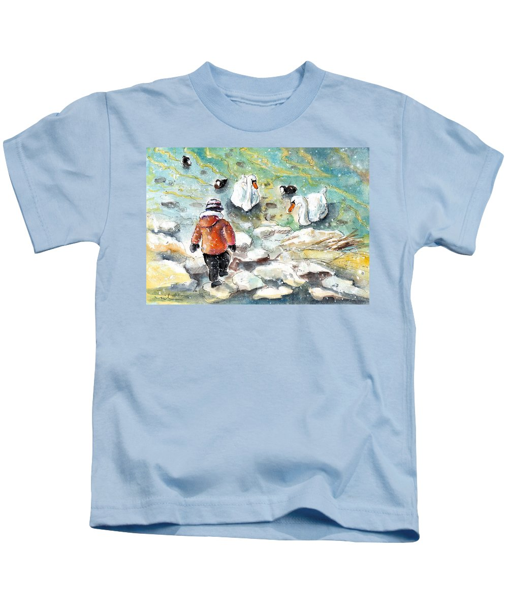 Travel Kids T-Shirt featuring the painting The Child And The Birds On Lake Constance by Miki De Goodaboom
