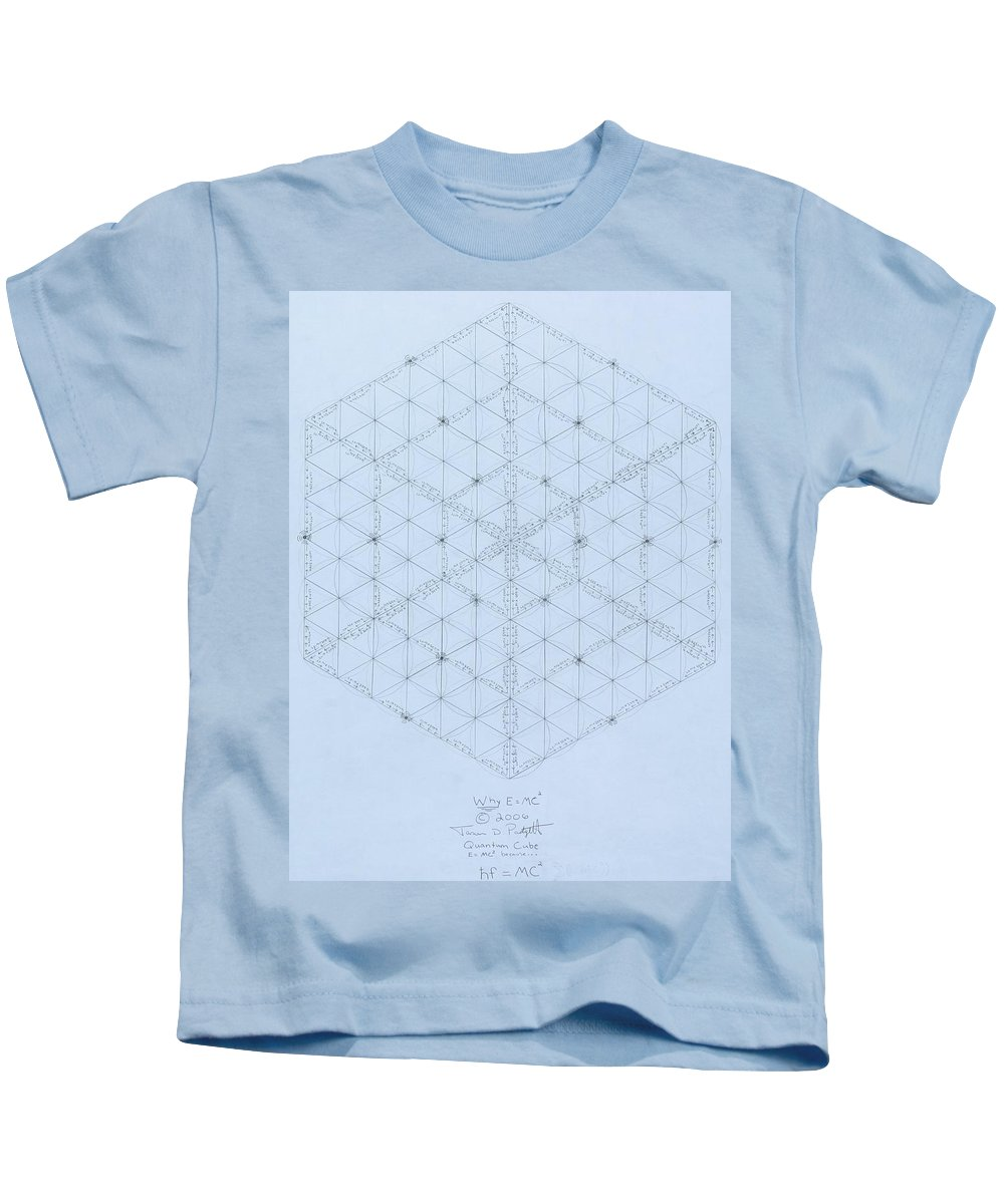 Energy Kids T-Shirt featuring the drawing Why Energy Equals Mass Times The Speed Of Light Squared by Jason Padgett