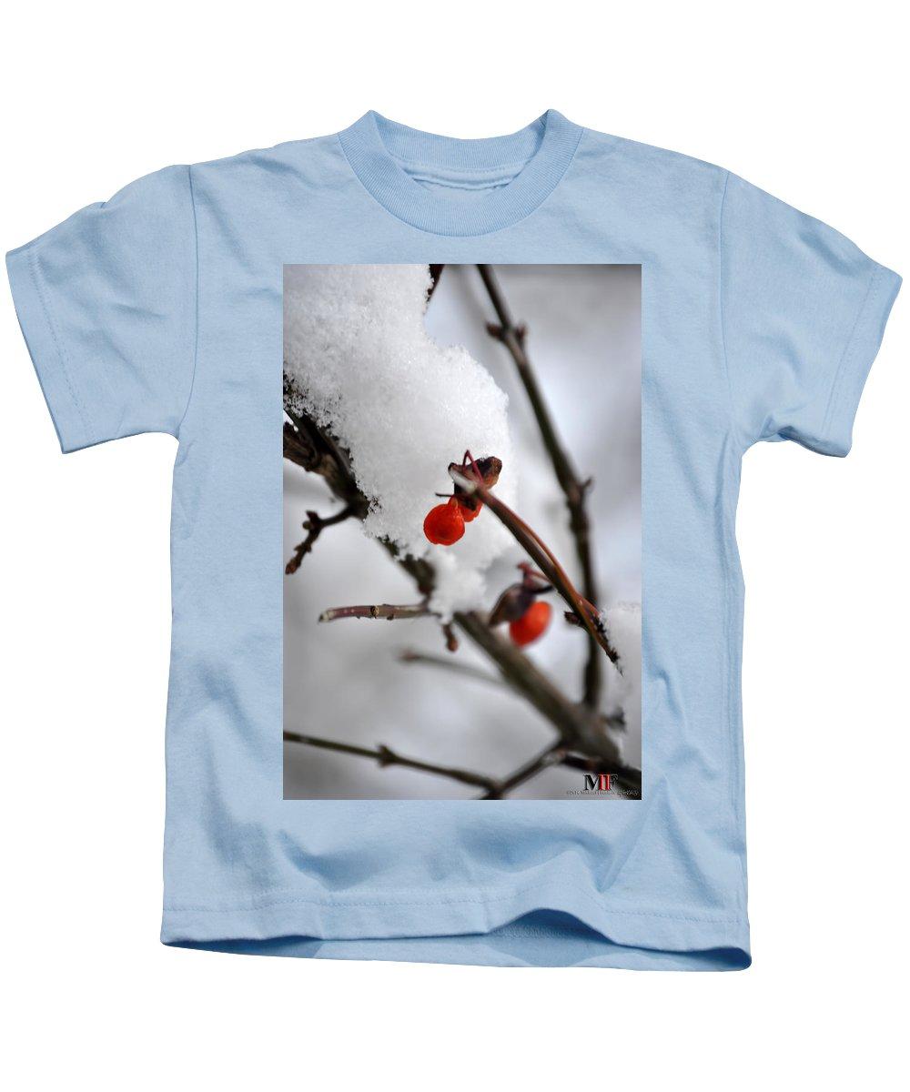 Michael Frank Jr Kids T-Shirt featuring the photograph 001 Frozen Berries by Michael Frank Jr