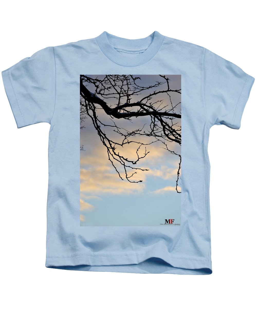 Michael Frank Jr Kids T-Shirt featuring the photograph 003 Cotton Candy Skies With A Lil Snow by Michael Frank Jr
