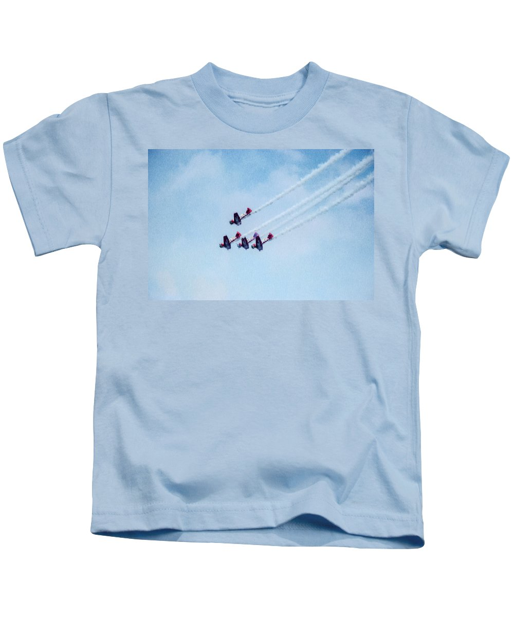 Chicago Kids T-Shirt featuring the digital art 0161 - Air Show - Expressionist Plein Air by David Lange