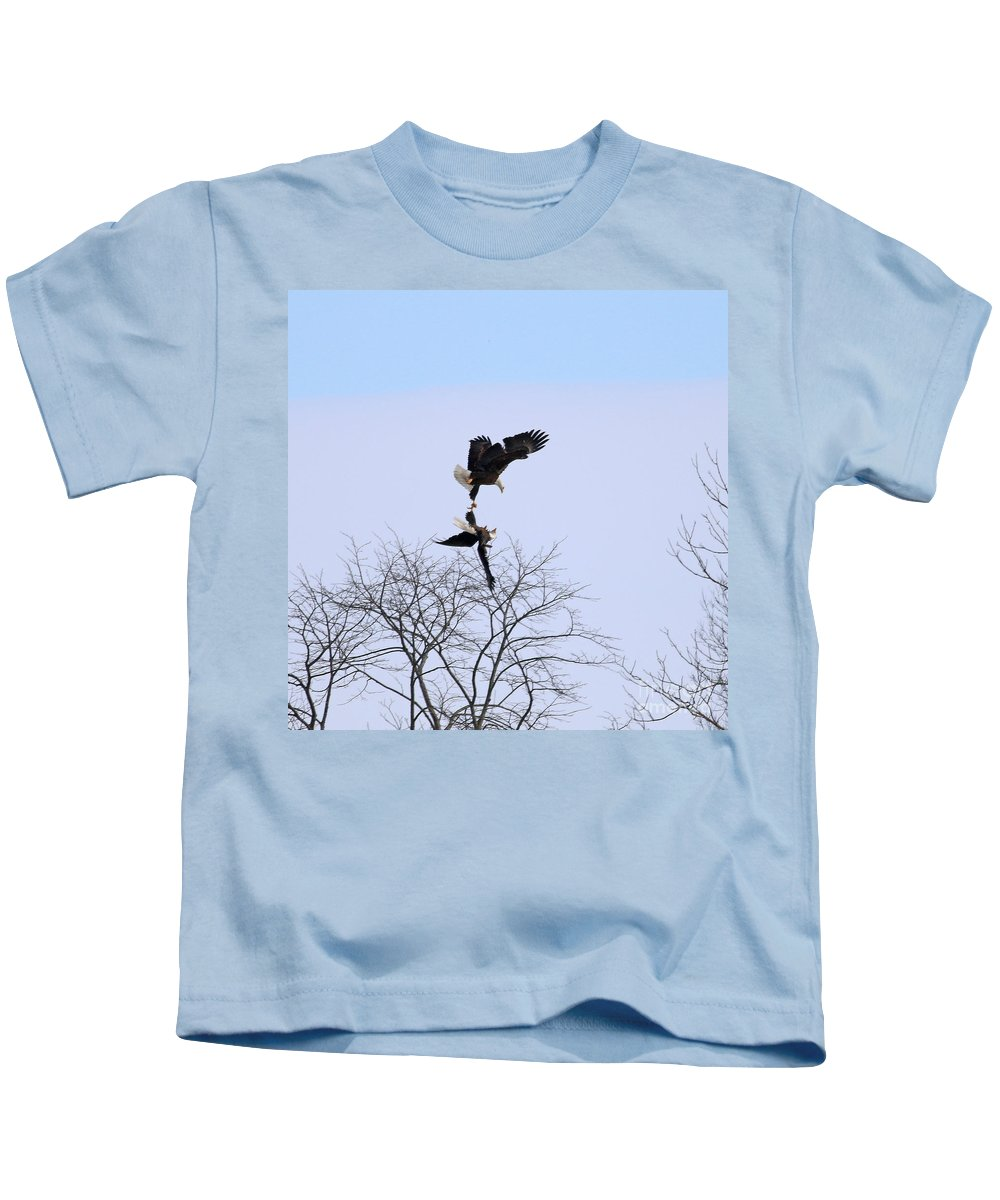 Bald Eagles Kids T-Shirt featuring the photograph Bald Eagle Courtship Ritual 1338 by Jack Schultz
