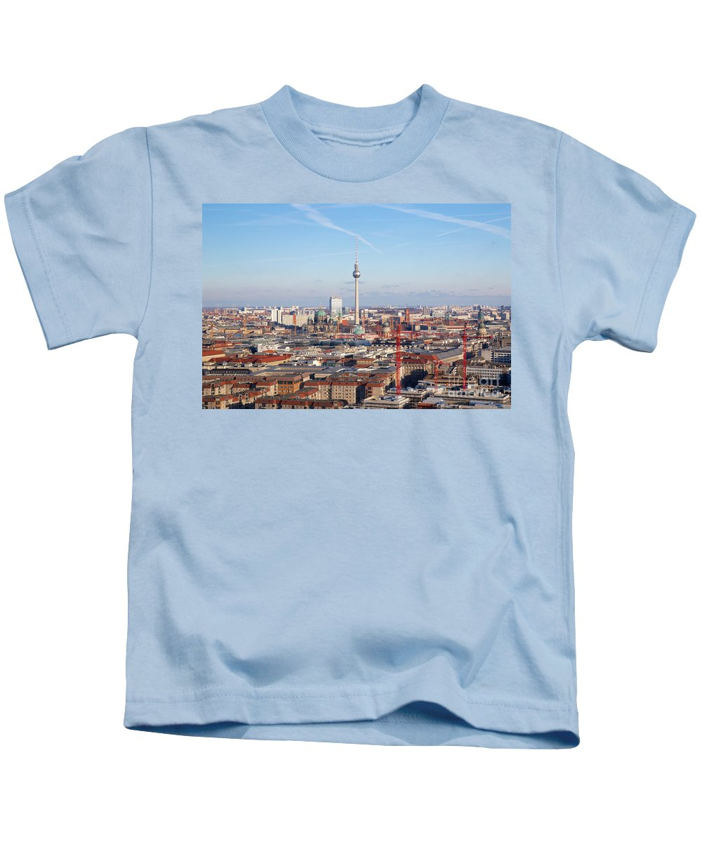 Aerial Kids T-Shirt featuring the photograph Berlin Cityscape by Jannis Werner