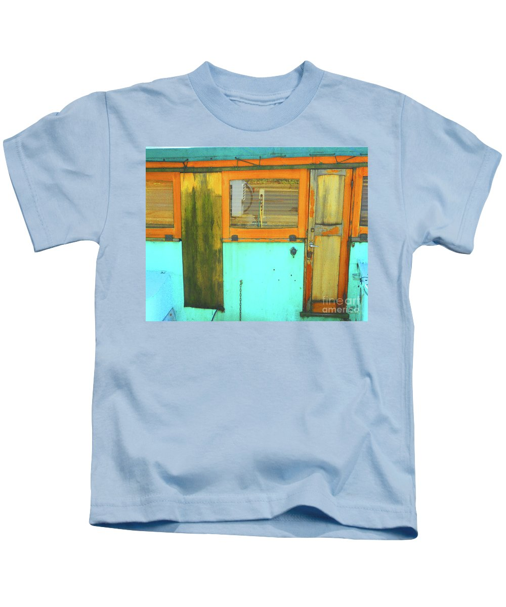 Abstract Kids T-Shirt featuring the photograph Blue Boat by Lauren Leigh Hunter Fine Art Photography