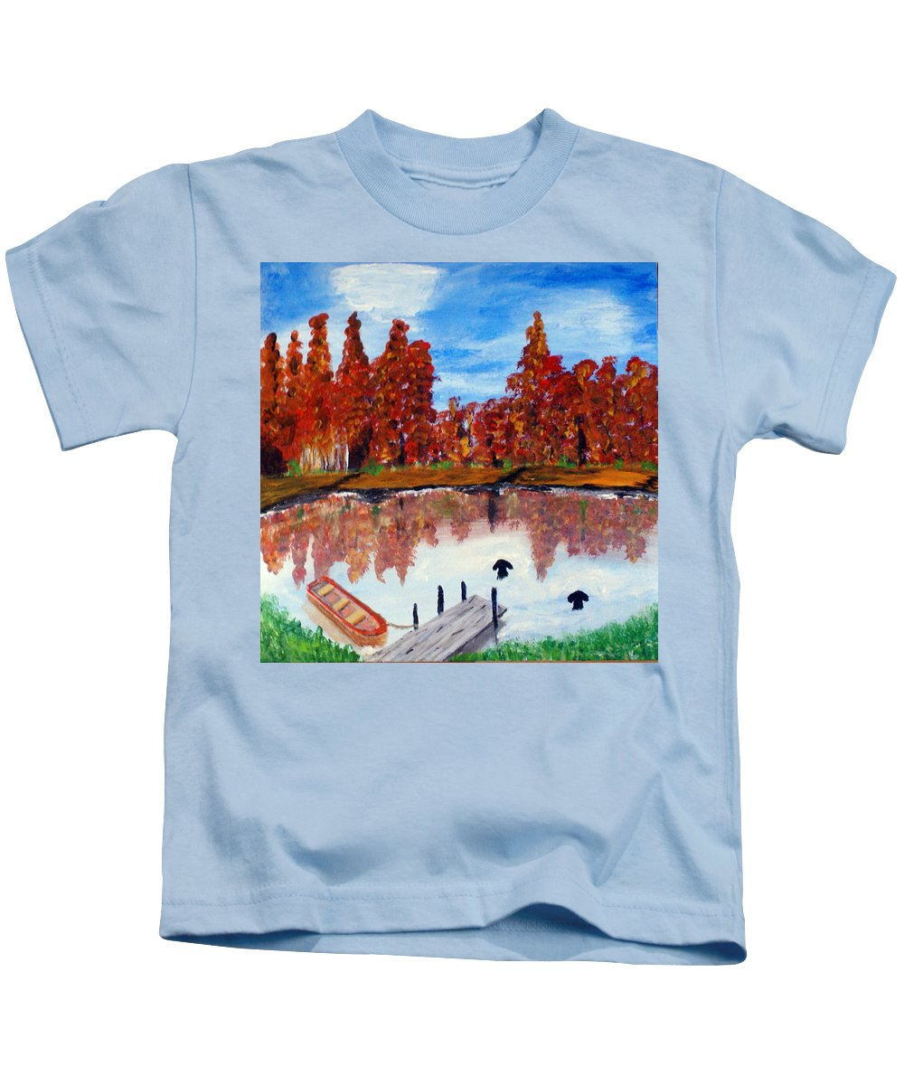 Acrylic On Canvas Kids T-Shirt featuring the painting Camp Maple by Aat Kuijpers