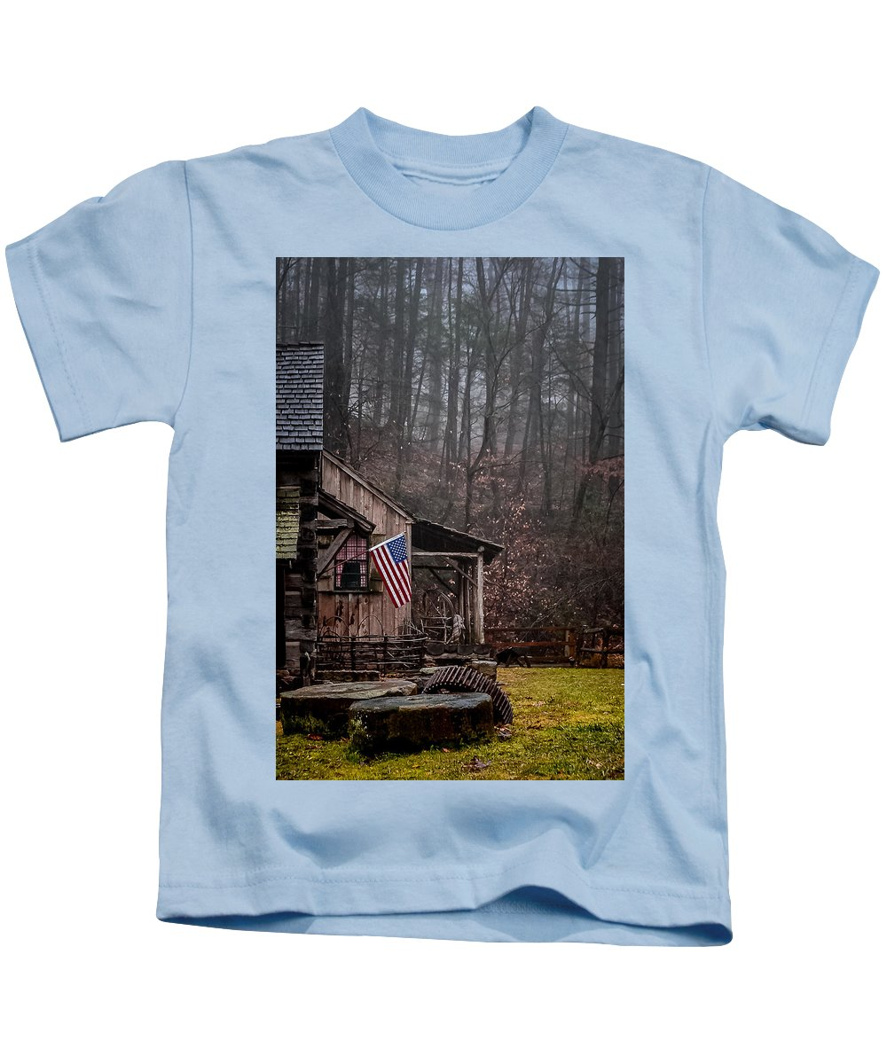 Cuttalossa Mill Kids T-Shirt featuring the photograph Cuttalossa Mill by Michael Brooks