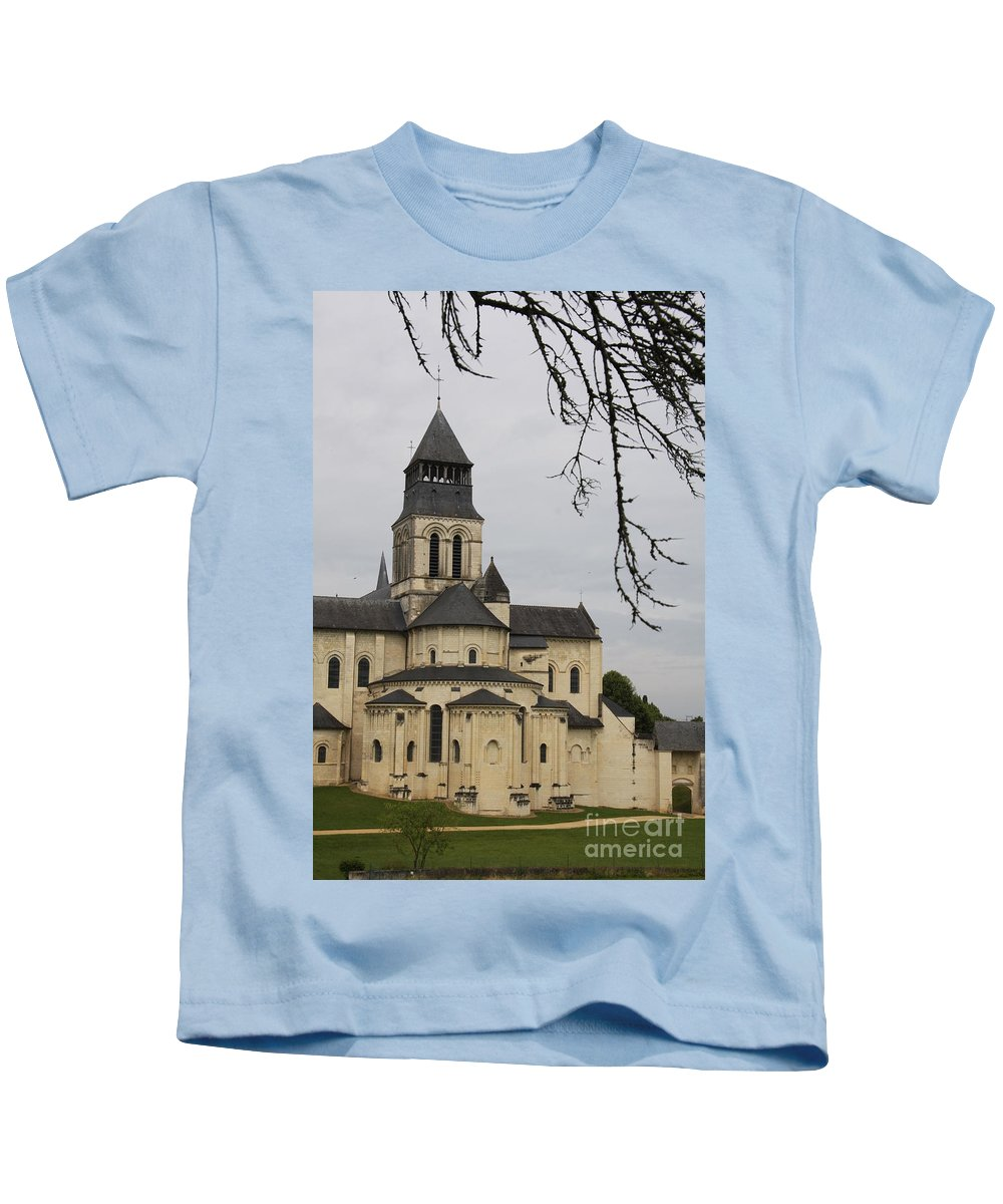 Cloister Kids T-Shirt featuring the photograph Cloister Fontevraud - France by Christiane Schulze Art And Photography