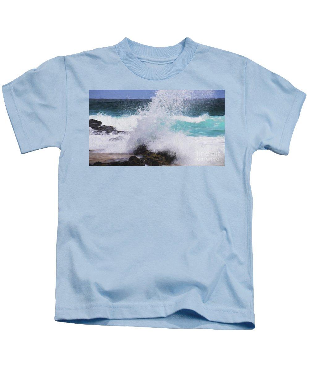 Crashing Waves On Rock Kids T-Shirt featuring the photograph Crash by Sheila Smart Fine Art Photography