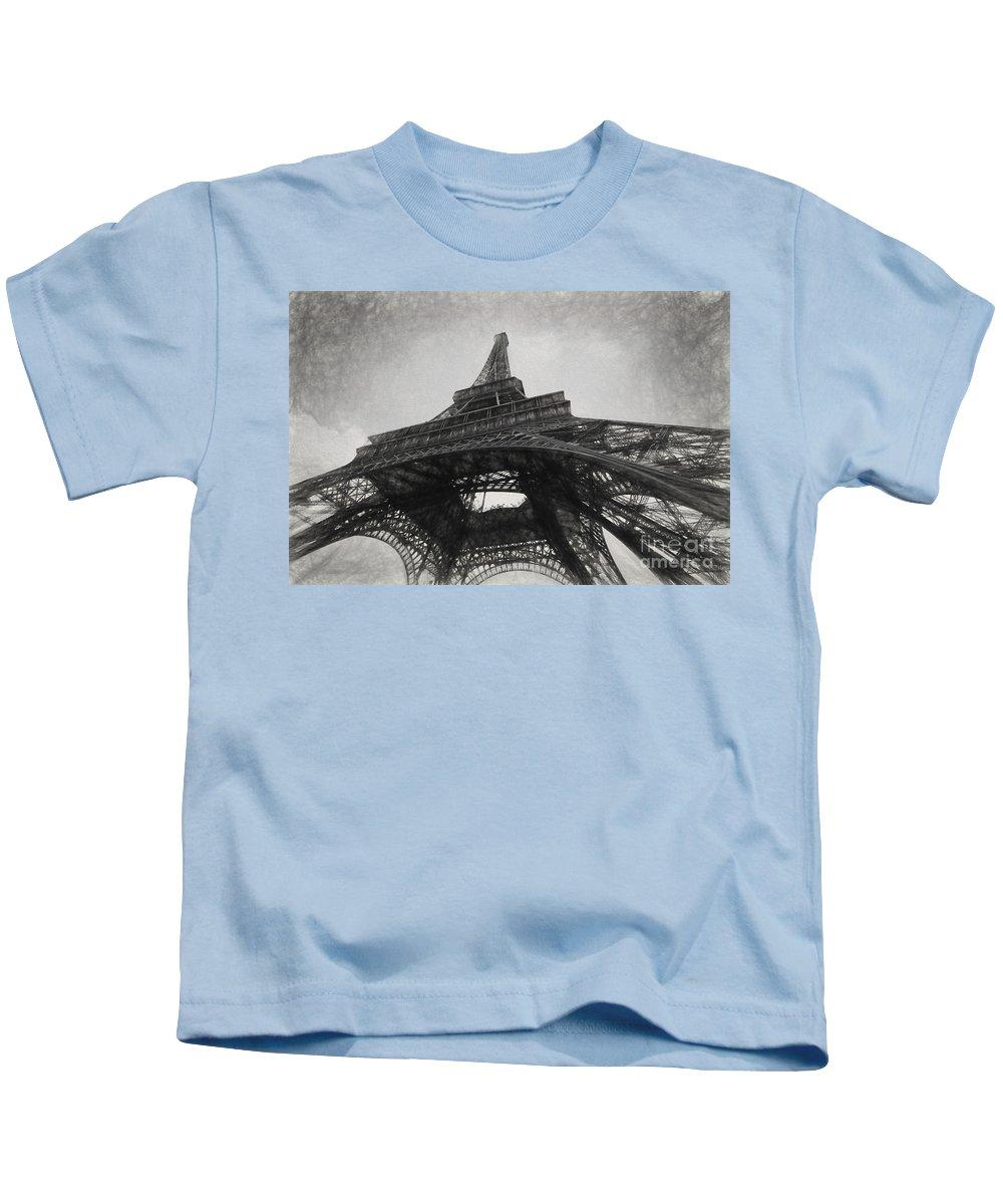 Eiffel Tower Kids T-Shirt featuring the photograph Eiffel tower as a sketch by Sheila Smart Fine Art Photography