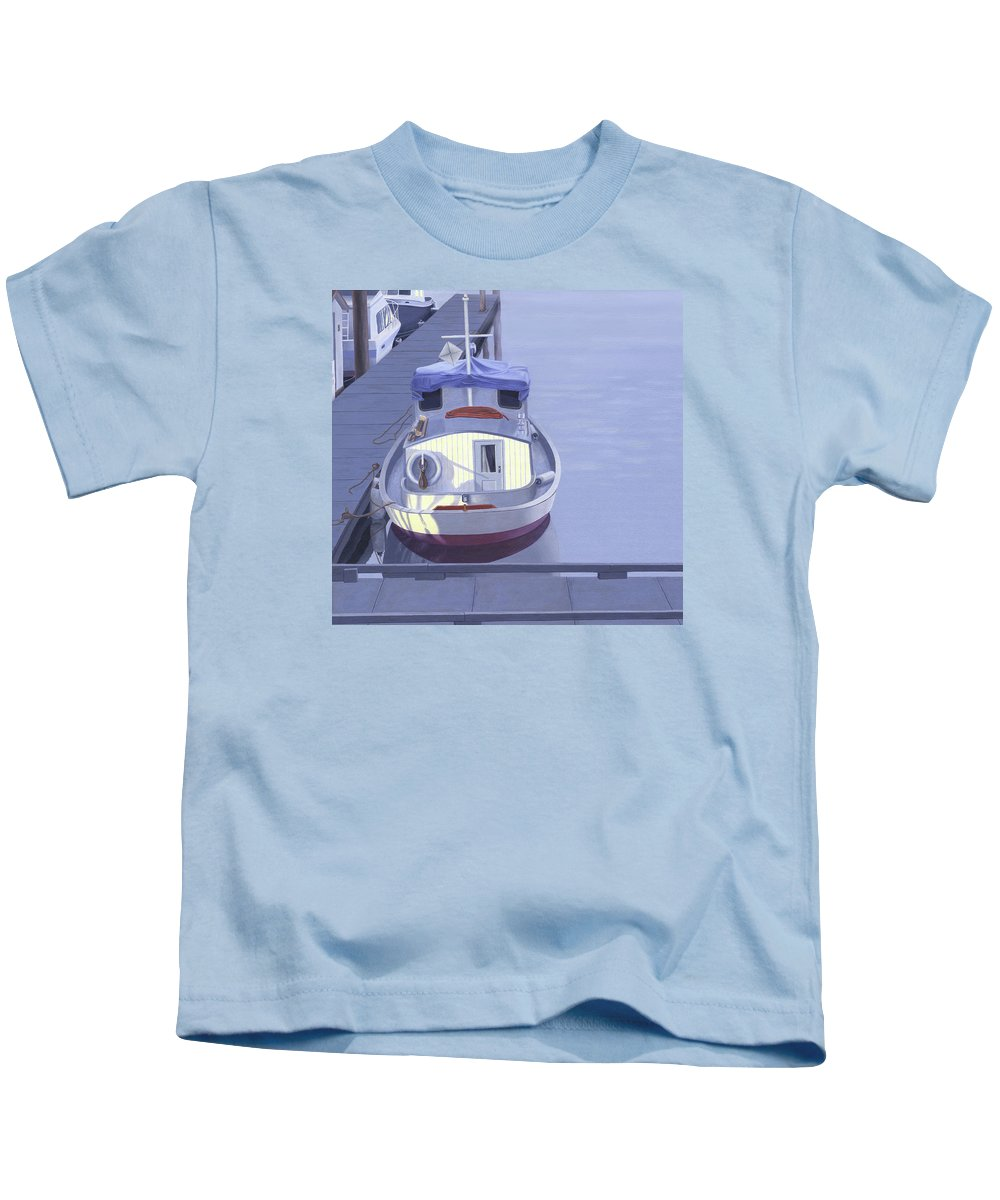 Boat Kids T-Shirt featuring the painting Evening at Port Hardy by Gary Giacomelli