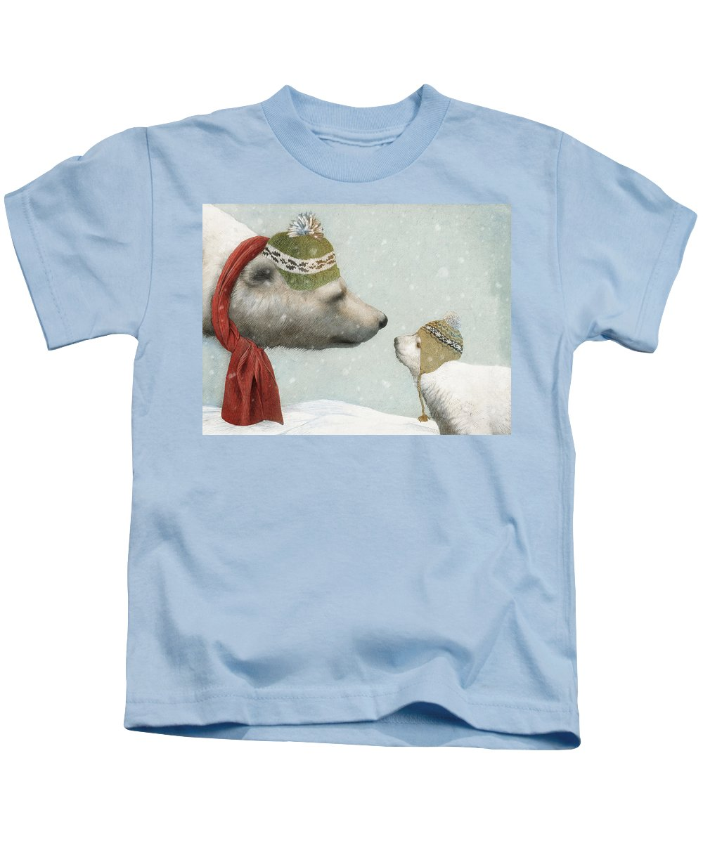Polar Bear Kids T-Shirt featuring the drawing First Winter by Eric Fan