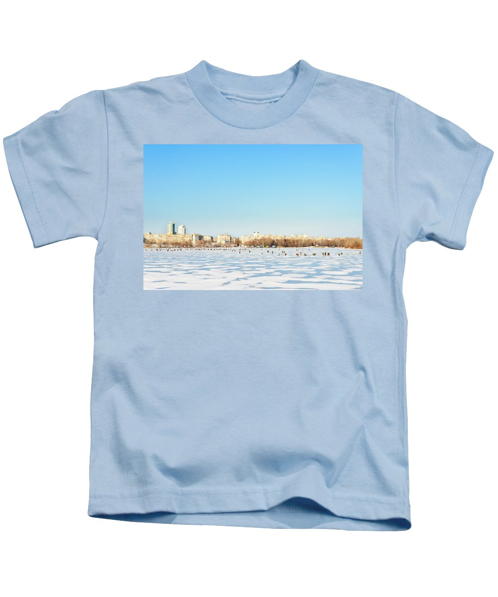 Dnieper Kids T-Shirt featuring the photograph Fishermen On The Frozen River by Alain De Maximy