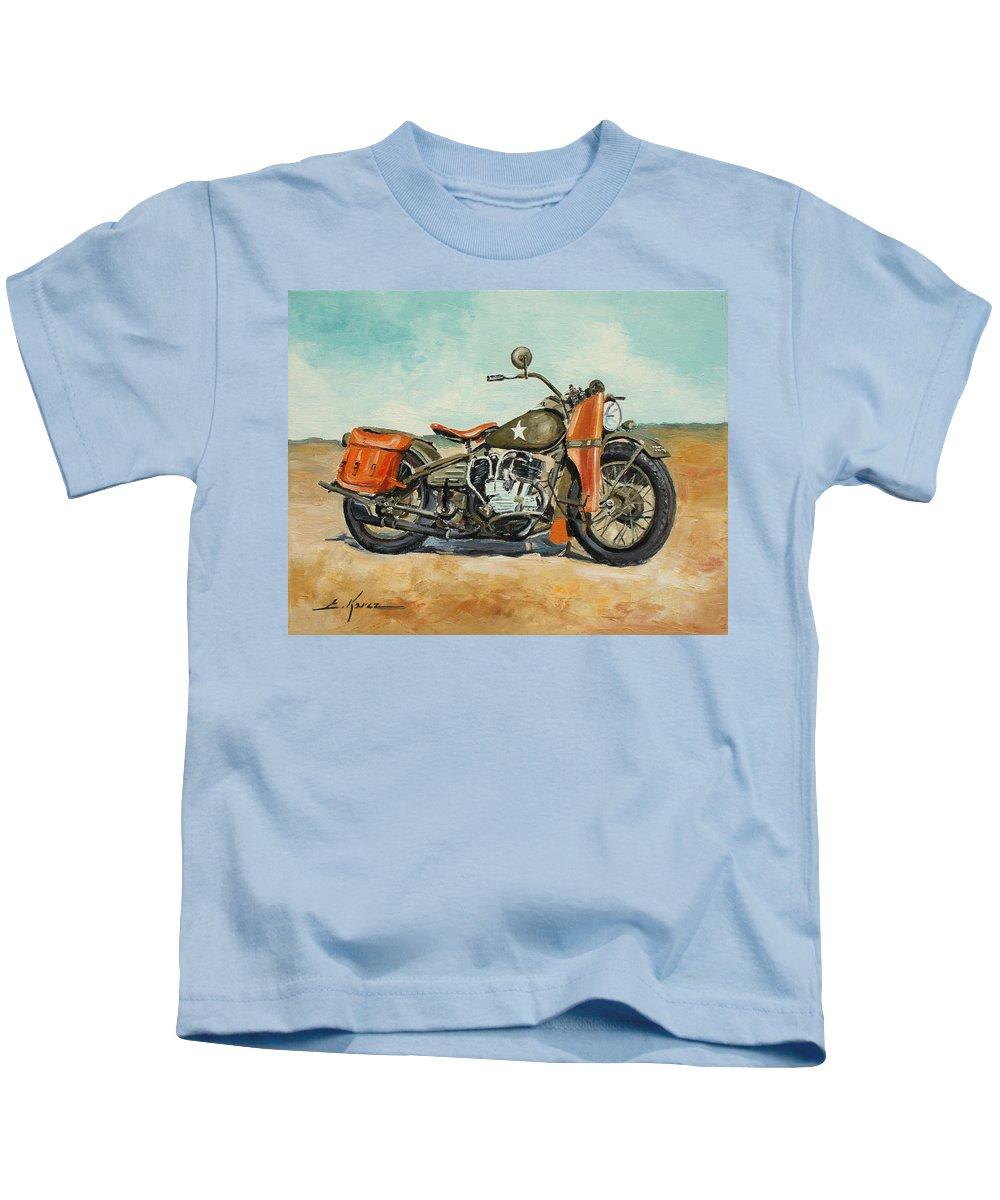 Harley Davisdson Kids T-Shirt featuring the painting Harley Davidson Wla 1942 by Luke Karcz