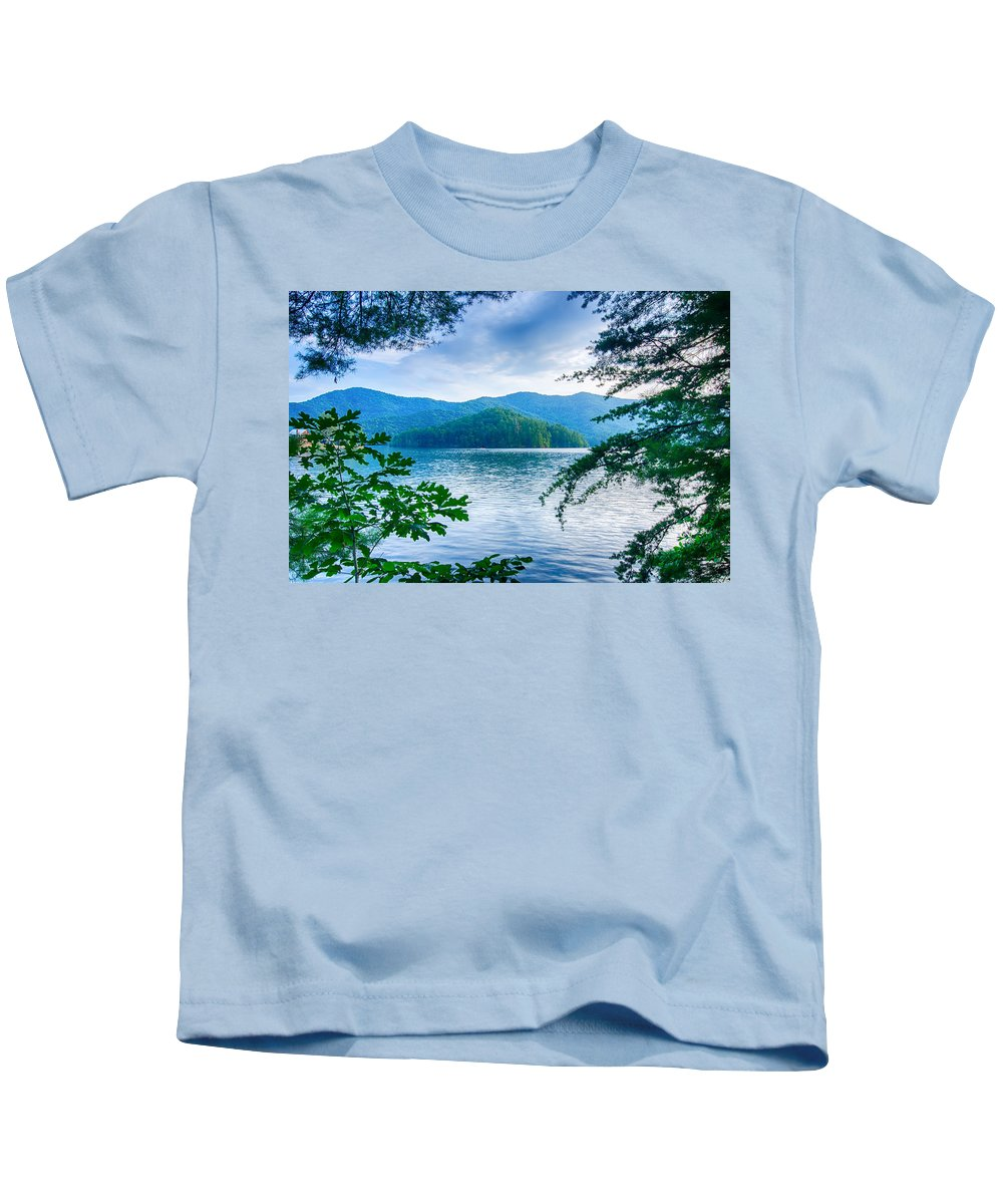 Colors Kids T-Shirt featuring the photograph Lake Santeetlah In Great Smoky Mountains North Carolina by Alex Grichenko