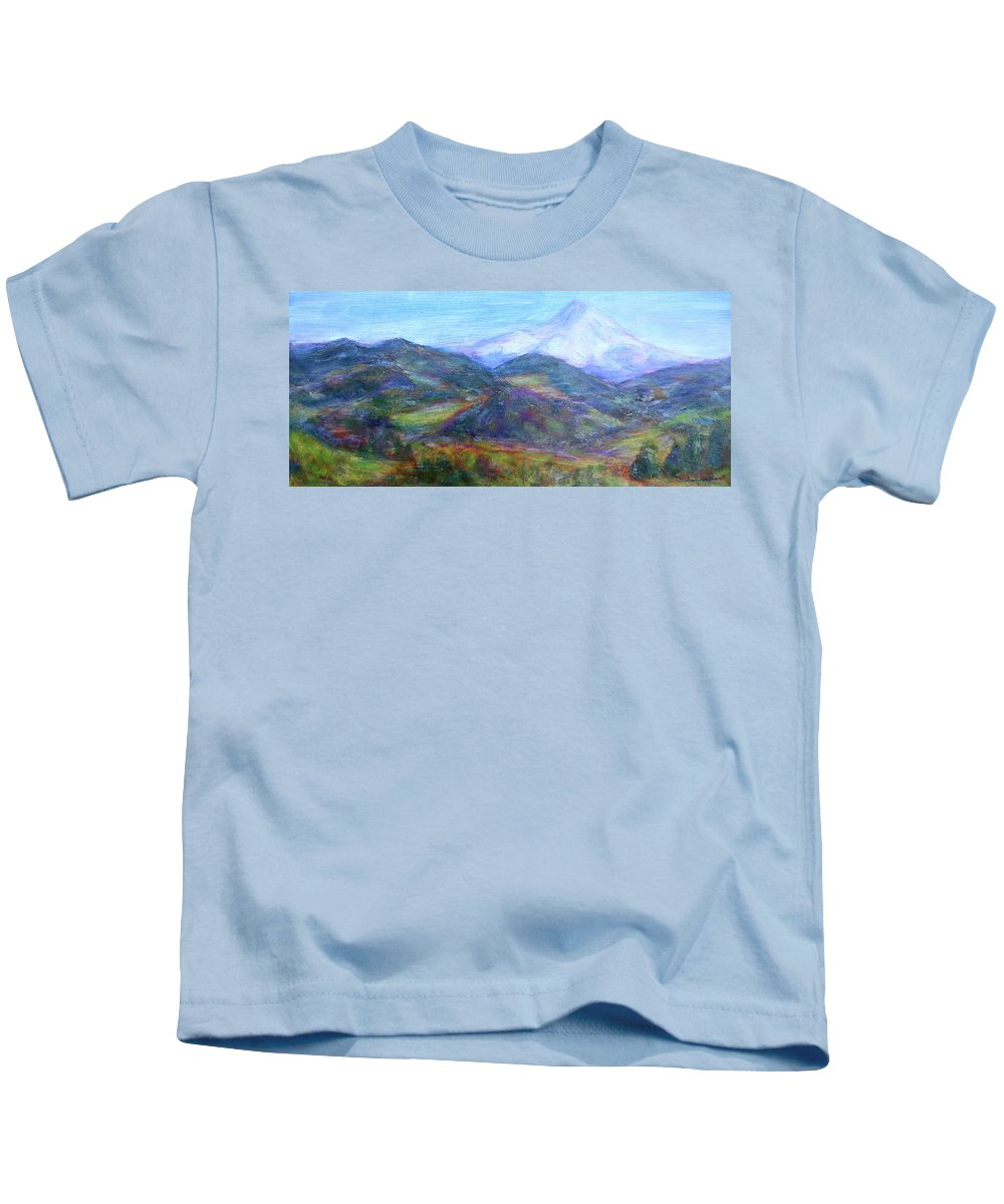 Quin Sweetman Paintings Kids T-Shirt featuring the painting Mountain Patchwork by Quin Sweetman