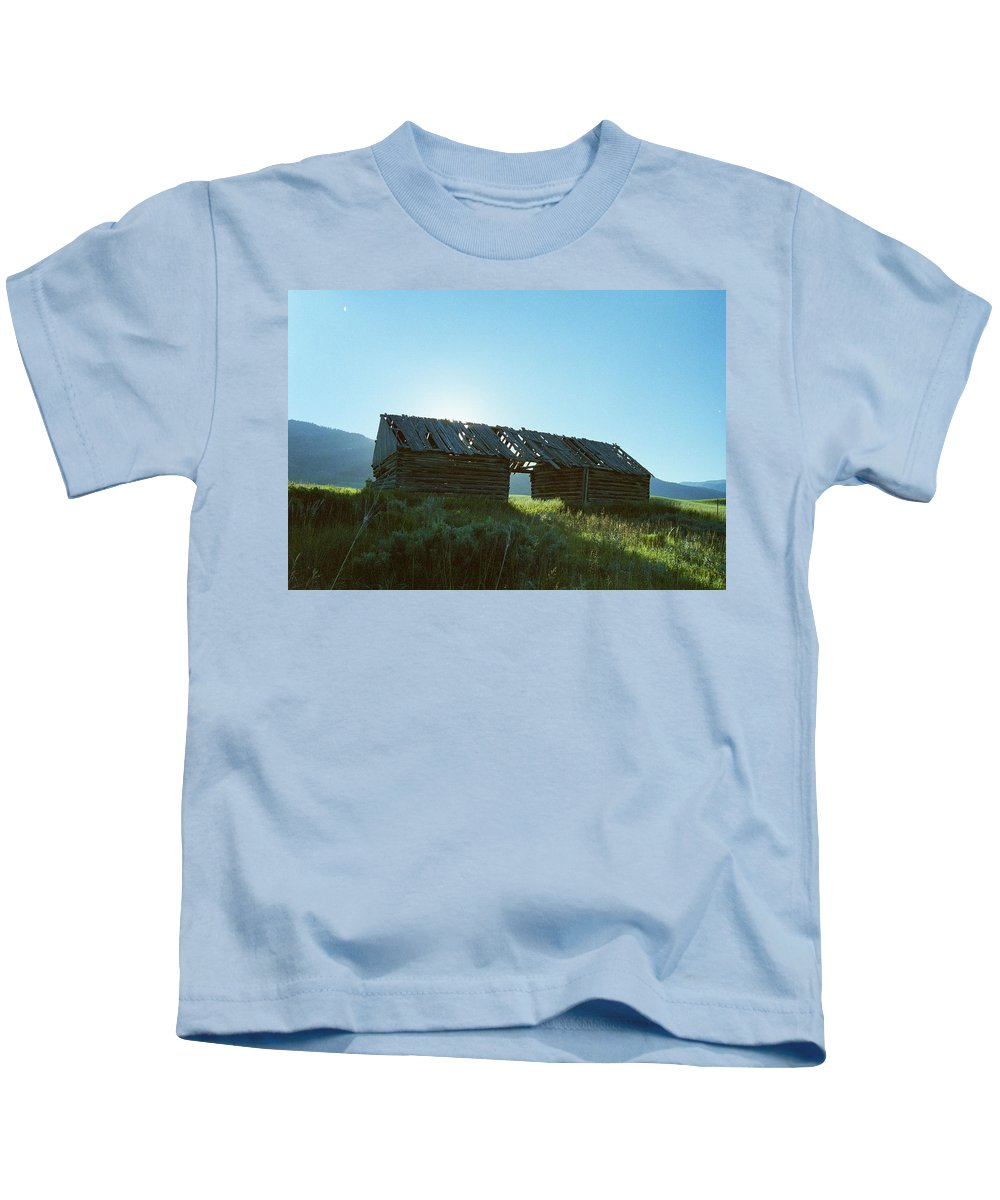 Barns Kids T-Shirt featuring the photograph Old Barn At Sunrise by Mike Wheeler