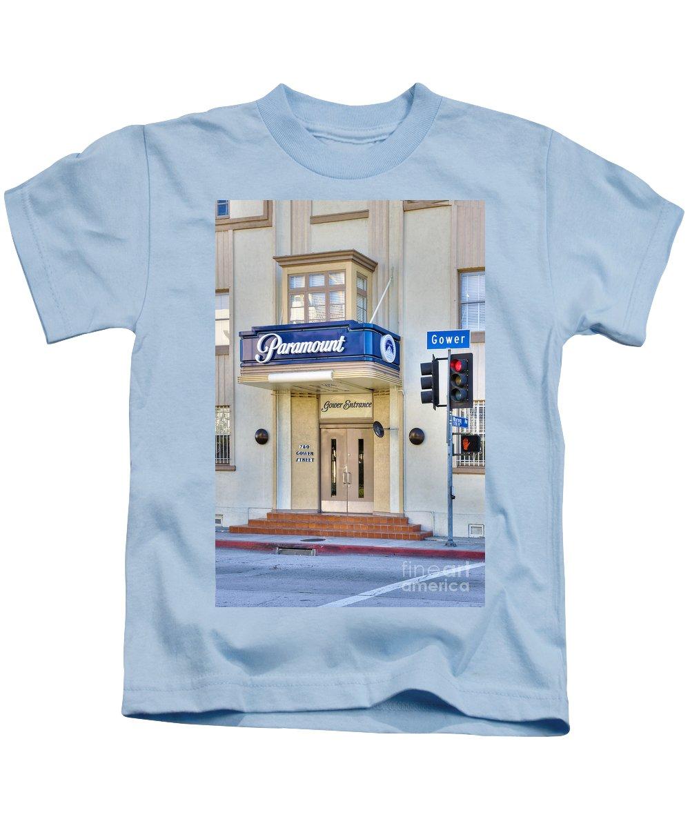 Paramount Studios Kids T-Shirt featuring the photograph Paramount Movie Studio Hollywood Ca by David Zanzinger