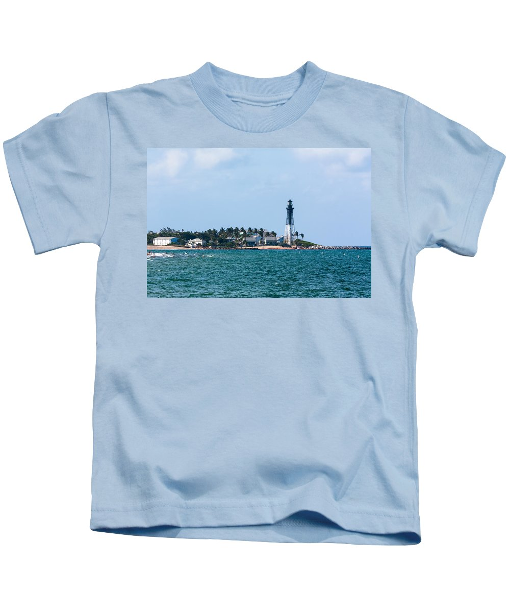 Architecture Kids T-Shirt featuring the photograph Pompano And The Hillsboro Inlet Lighthouse by Ed Gleichman