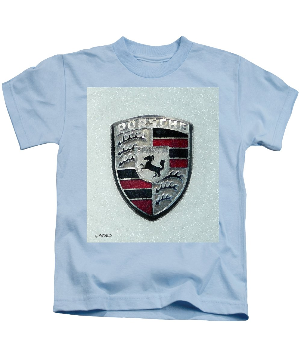 Porsche Kids T-Shirt featuring the painting Porsche Emblem by George Pedro