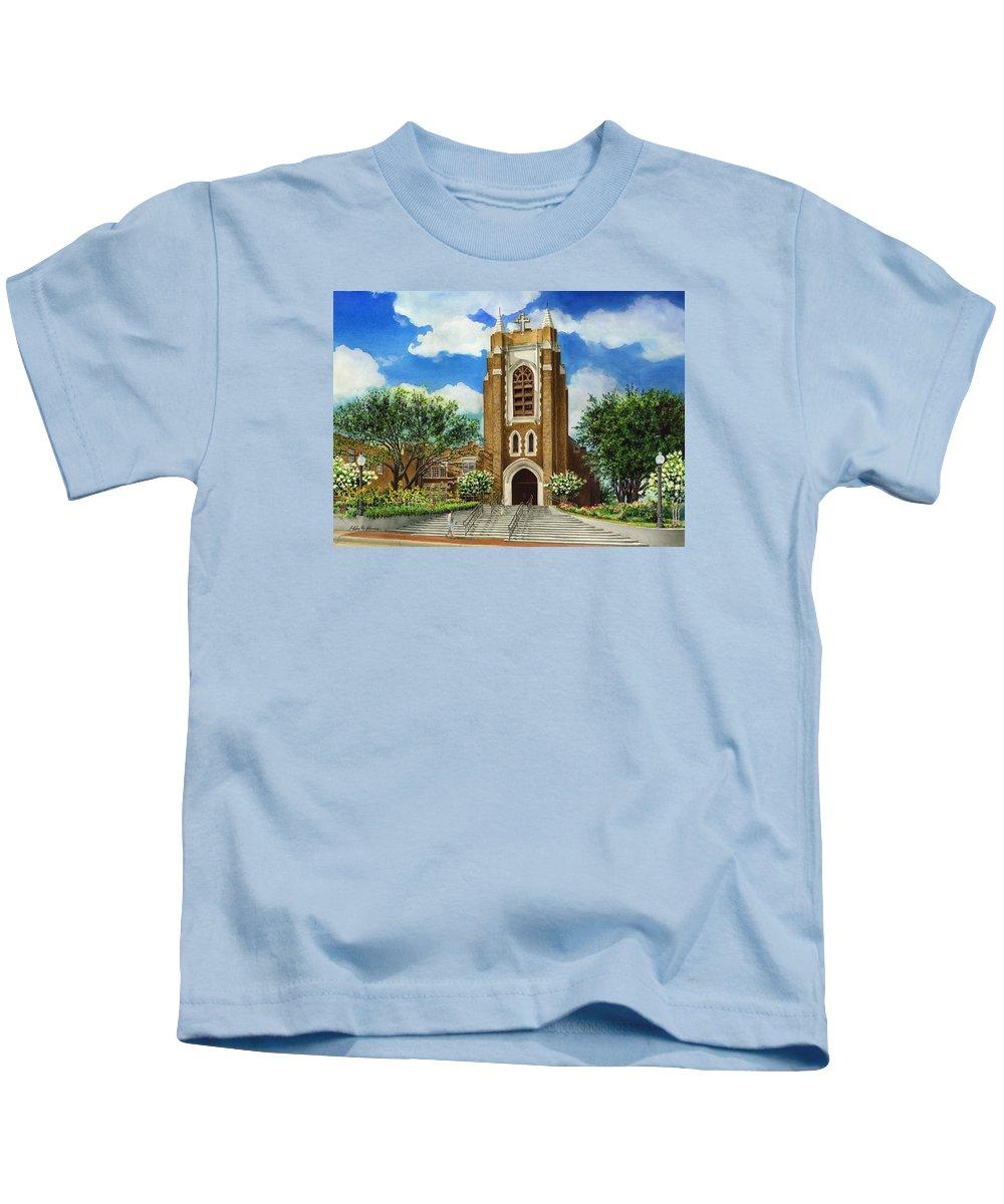 Saint Andrew's Episcopal Church Kids T-Shirt featuring the painting Saint Andrews Episcopal Church Bryan Texas by Hailey E Herrera