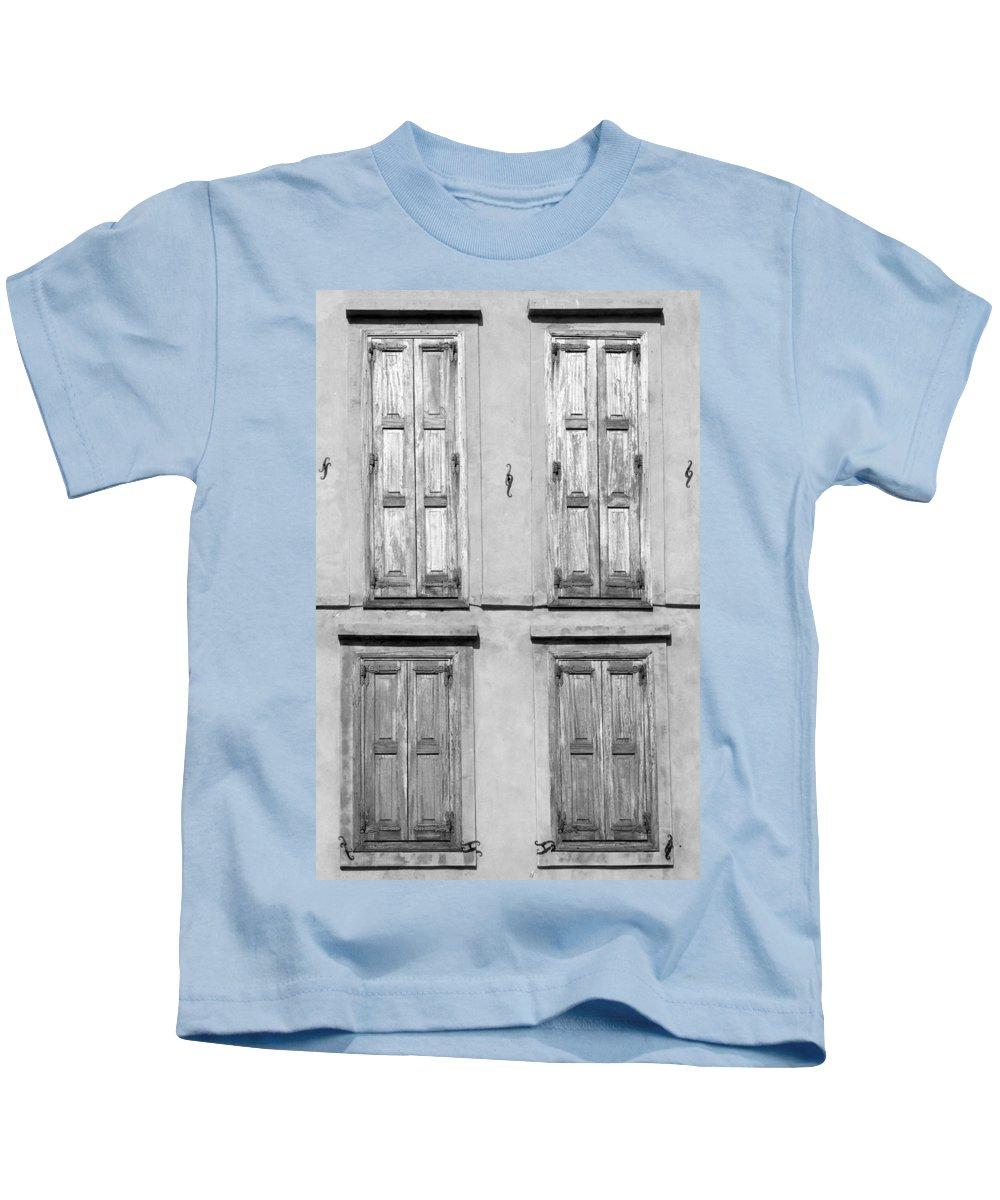 Lesvos Kids T-Shirt featuring the photograph Shutters by Roy Pedersen