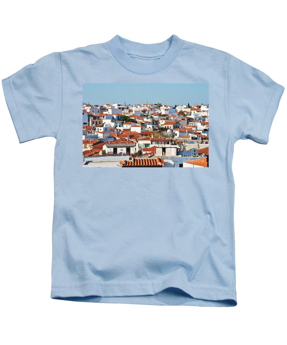 Skiathos Kids T-Shirt featuring the photograph Skiathos Town by David Fowler