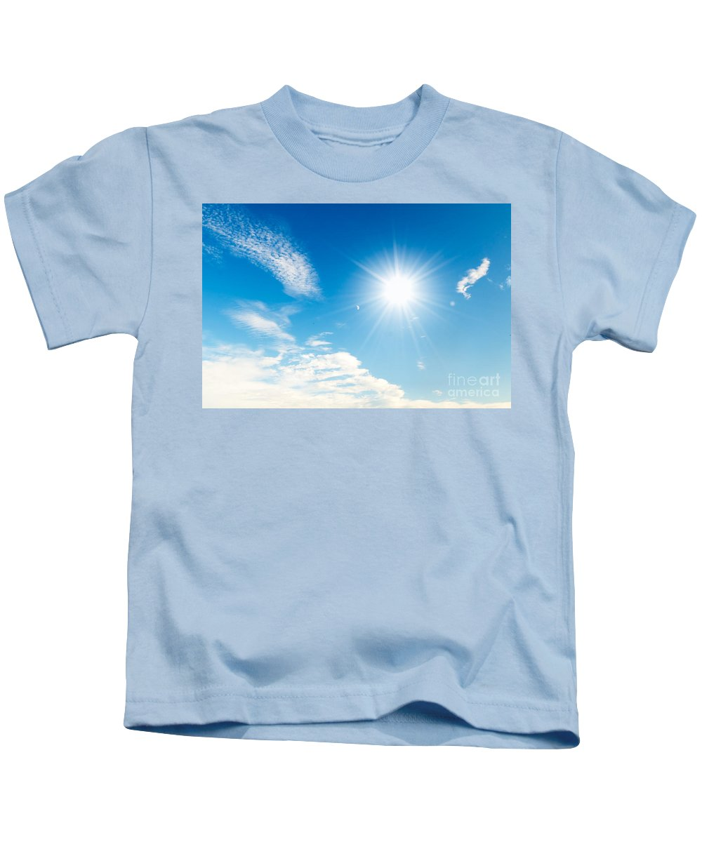 Air Kids T-Shirt featuring the photograph Sunny Blue Sky by Michal Bednarek