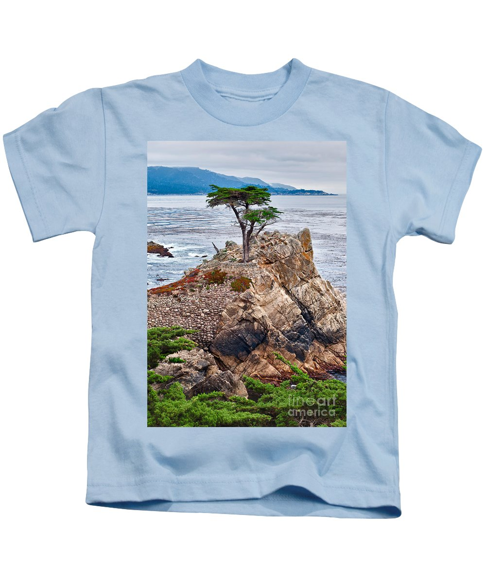 Lone Cypress Kids T-Shirt featuring the photograph The Famous Lone Cypress Tree At Pebble Beach In Monterey California by Jamie Pham