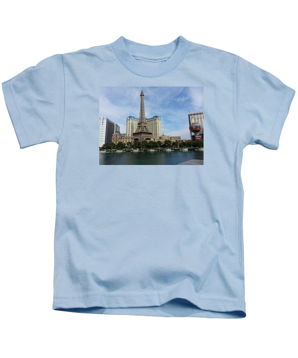 Eiffel Kids T-Shirt featuring the photograph Vegas by FL collection