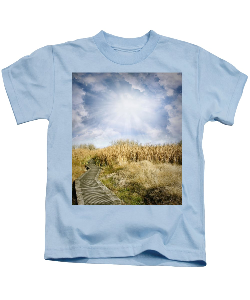 Sky Kids T-Shirt featuring the photograph Wetland Walk by Les Cunliffe