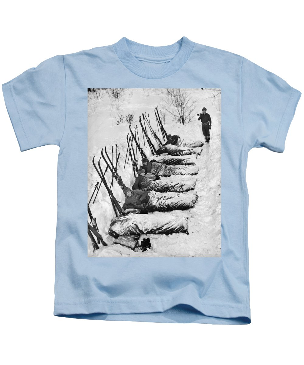 1930's Kids T-Shirt featuring the photograph Winter Camping by Underwood Archives