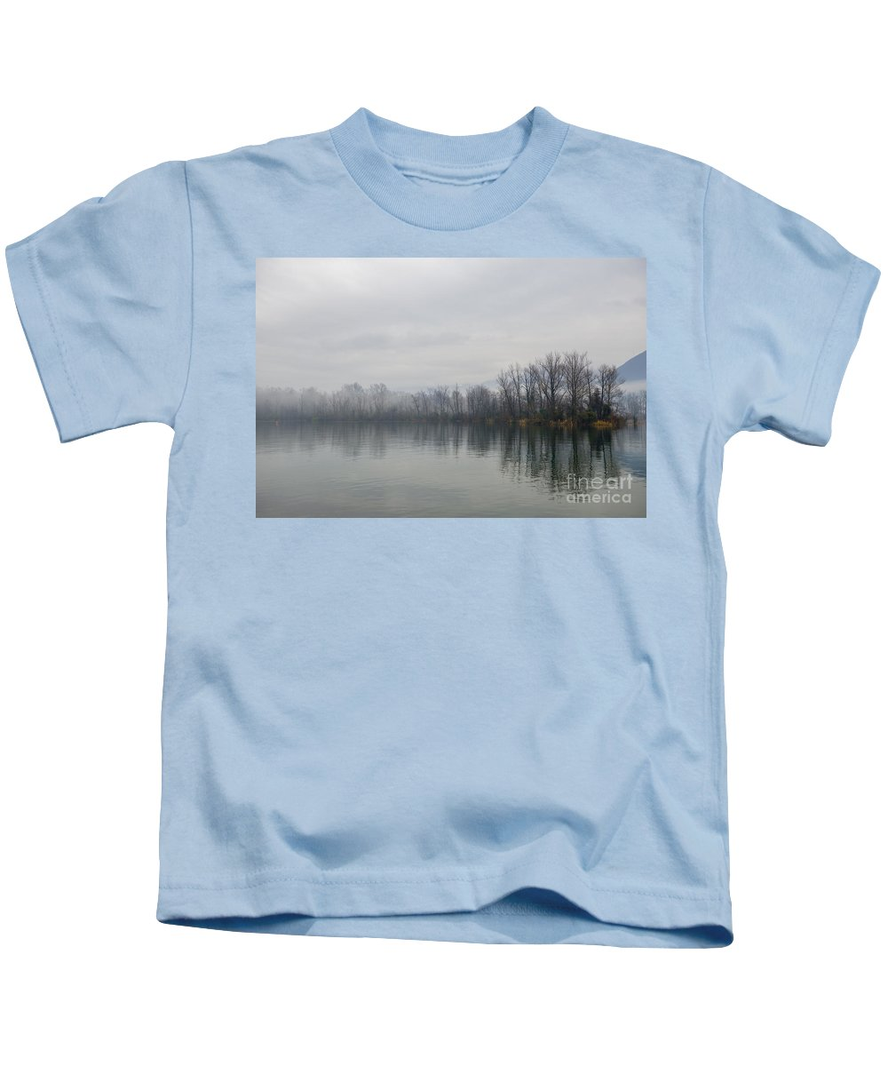 Tree Kids T-Shirt featuring the photograph Foggy Lake by Mats Silvan