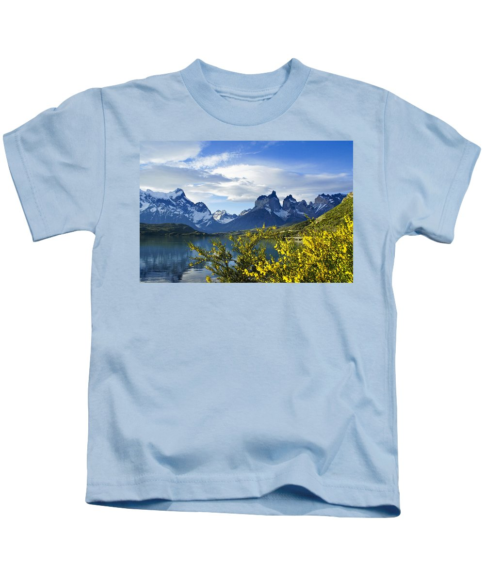 Patagonia Kids T-Shirt featuring the photograph Springtime In Torres Del Paine by Michele Burgess