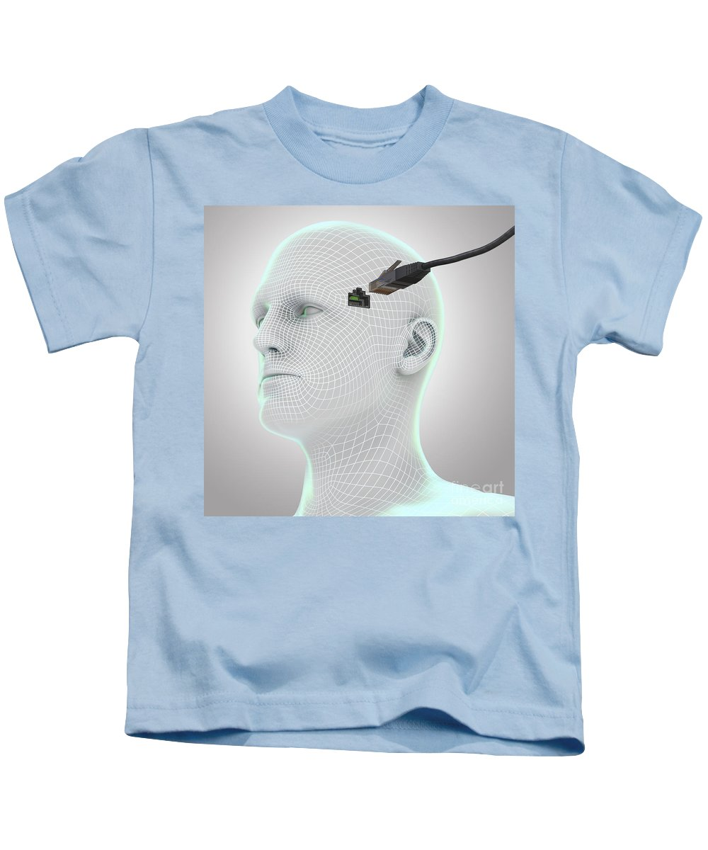 Artificial Intelligence Kids T-Shirt featuring the photograph Digital Connection by Science Picture Co