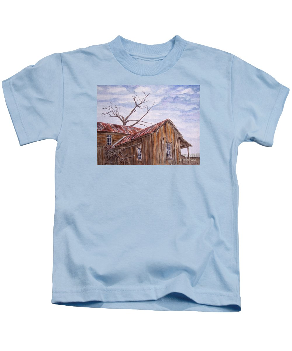 Old House Kids T-Shirt featuring the painting 1800's by Regan J Smith