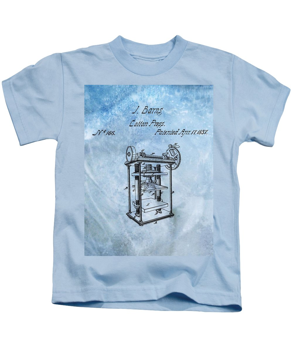1837 Cotton Press Patent Kids T-Shirt featuring the digital art 1837 Cotton Press Patent 1837 by Dan Sproul