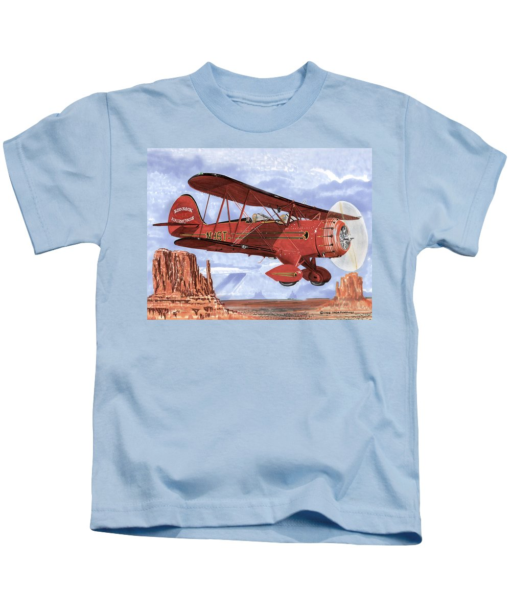 1935 Waco Bi-plane. Framed Prints Of Bi-wing Aircraft. Post Cards Of Old Airplanes. Framed Prints Of Utah Kids T-Shirt featuring the painting Monument Valley Bi-plane by Jack Pumphrey
