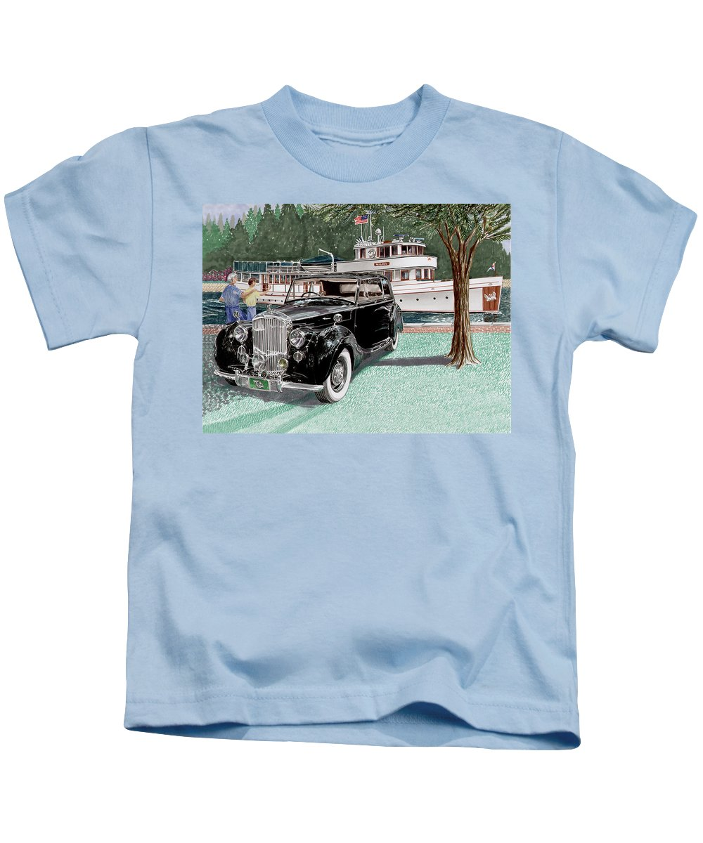 Classic 1936 Bentley British Car Art Kids T-Shirt featuring the painting Bentley Waving To Malibu by Jack Pumphrey
