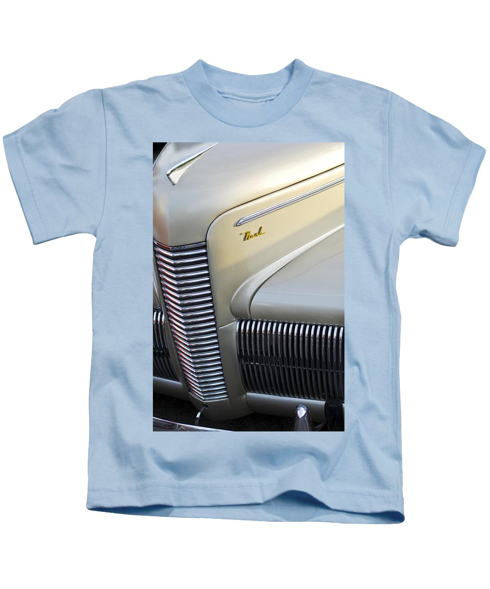 Car Kids T-Shirt featuring the photograph 1940 Nash Grille by Jill Reger