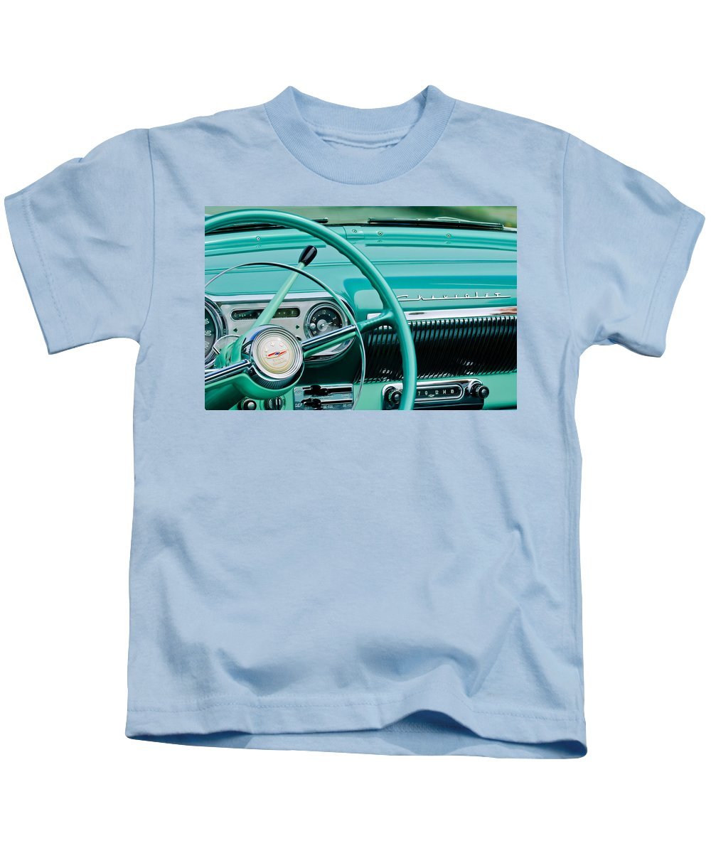 1954 Chevrolet Belair Steering Wheel Kids T-Shirt featuring the photograph 1954 Chevrolet Belair Steering Wheel 3 by Jill Reger