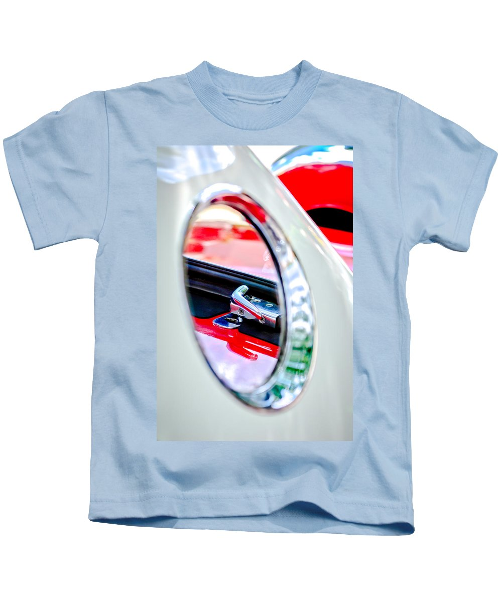 1956 Ford Thunderbird Latch Kids T-Shirt featuring the photograph 1956 Ford Thunderbird Latch -417c by Jill Reger