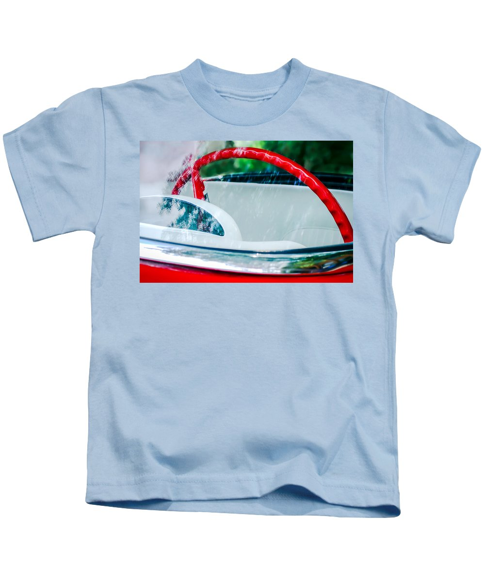 1956 Ford Thunderbird Steering Wheel Kids T-Shirt featuring the photograph 1956 Ford Thunderbird Steering Wheel -402c by Jill Reger